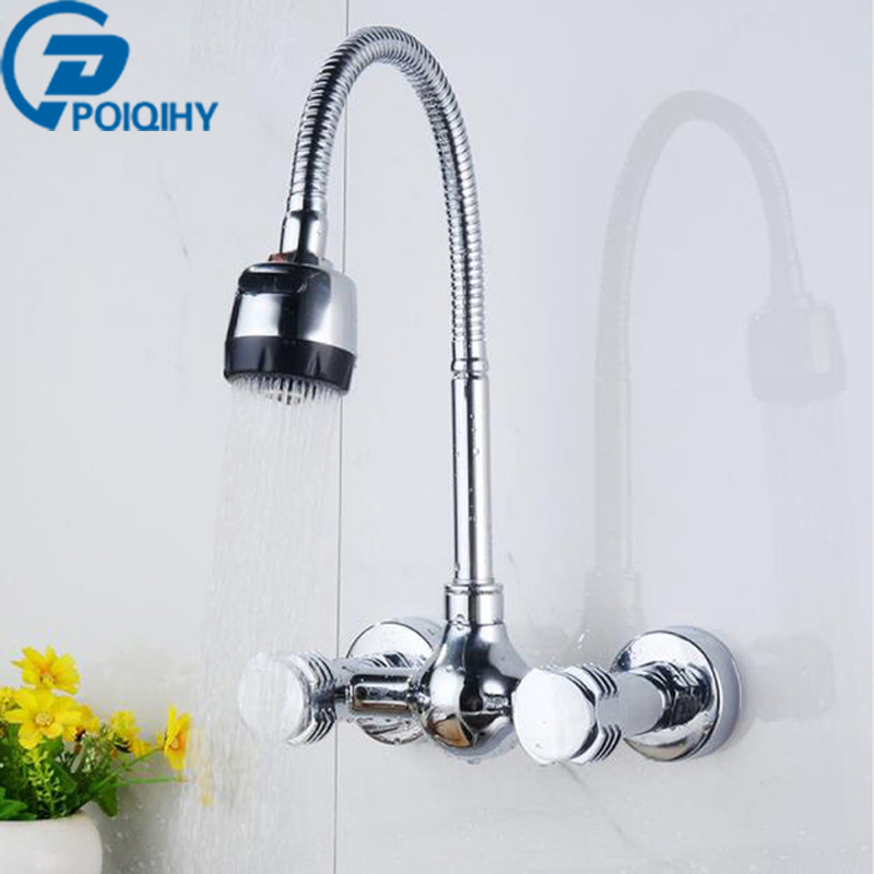 Wall Mount Kitchen Dual Handle Flexible Hose Mixer Tap Hot and Cold Water Faucet china sanitary ware chrome wall mount thermostatic water tap water saver thermostatic shower faucet