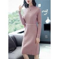 Модное женское платье свитер с высоким воротником и длинными рукавами; сезон осень зима; женские платья; повседневные трикотажные платья;