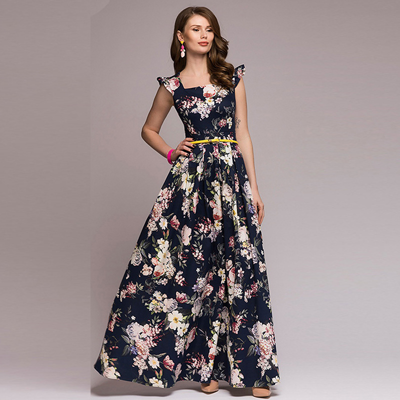 Women Printing Party Dress 2018 Popular Sleeveless Square Collar Sexy Long Vestidos Women Elegant Fall Pleated Dress vestidos in Dresses from Women 39 s Clothing
