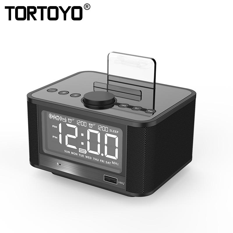 TORTOYO X7 Table Dock Station Stereo Wireless Bluetooth Speaker Support Alarm FM Radio Player 4000mah Power