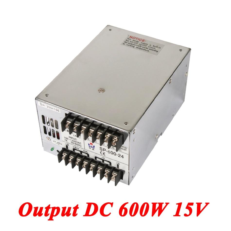 SP-600-15 PFC 600W 15v 40A,Single Output ac-dc switching power supply for Led Strip,AC110V/220V Transformer to DC15 V sp 600 24 pfc switching power supply 600w 24v 25a single output parallel ac dc power supply ac110v 220v transformer to dc 24 v