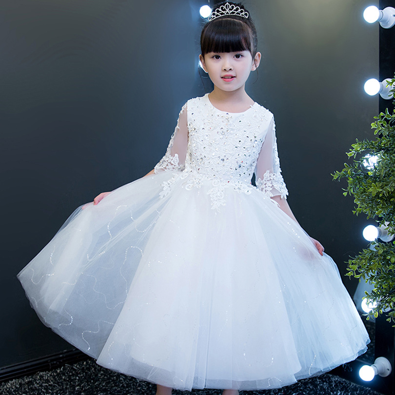 Elegant Flower Girls White Lace Wedding Dress Kids Sequin Autumn Party Princess Birthday Dress Half Sleeve First Communion Gowns elegant flower lace lacut cut wedding invitations set blank ppaer printing invitation cards kit casamento convite pocket