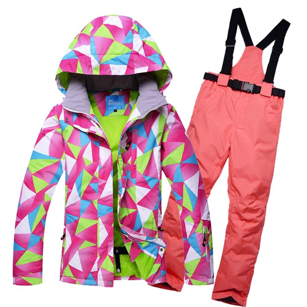 HOTIAN Ski Suit Women Snowboard Jacket And pants Windproof Waterproof Outdoor Set For