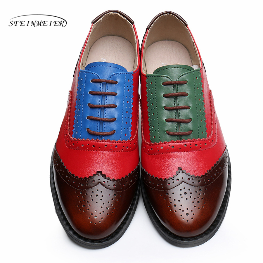Women flats oxford shoes genuine leather vintage flat shoes round toe handmade green beige 2019 oxfords