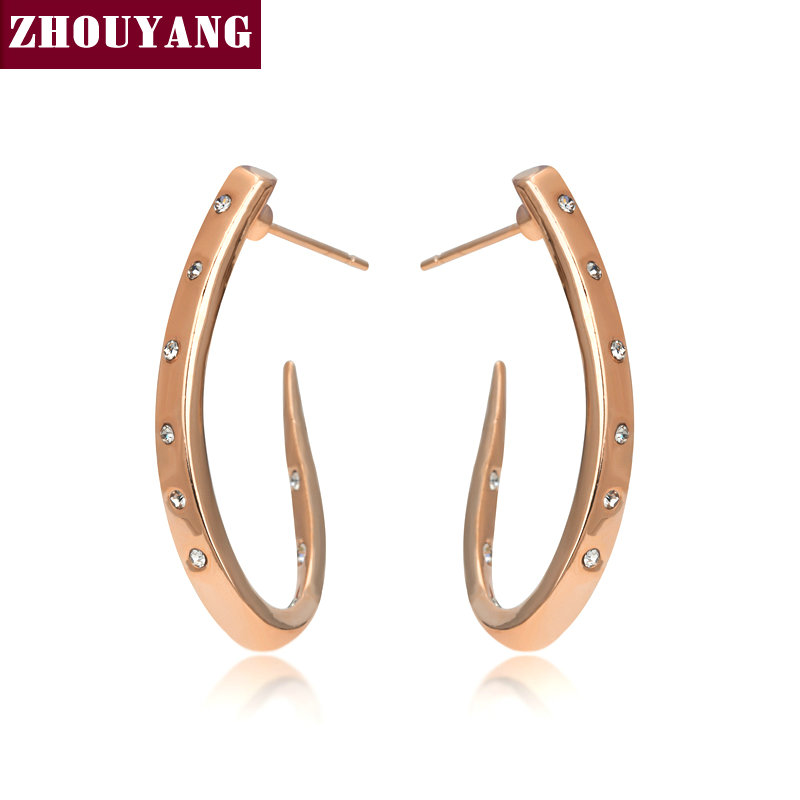 Top Quality ZYE598 Crystal Stud Earring Rose Gold Color Jewelry Austrian Crystal Wholesale