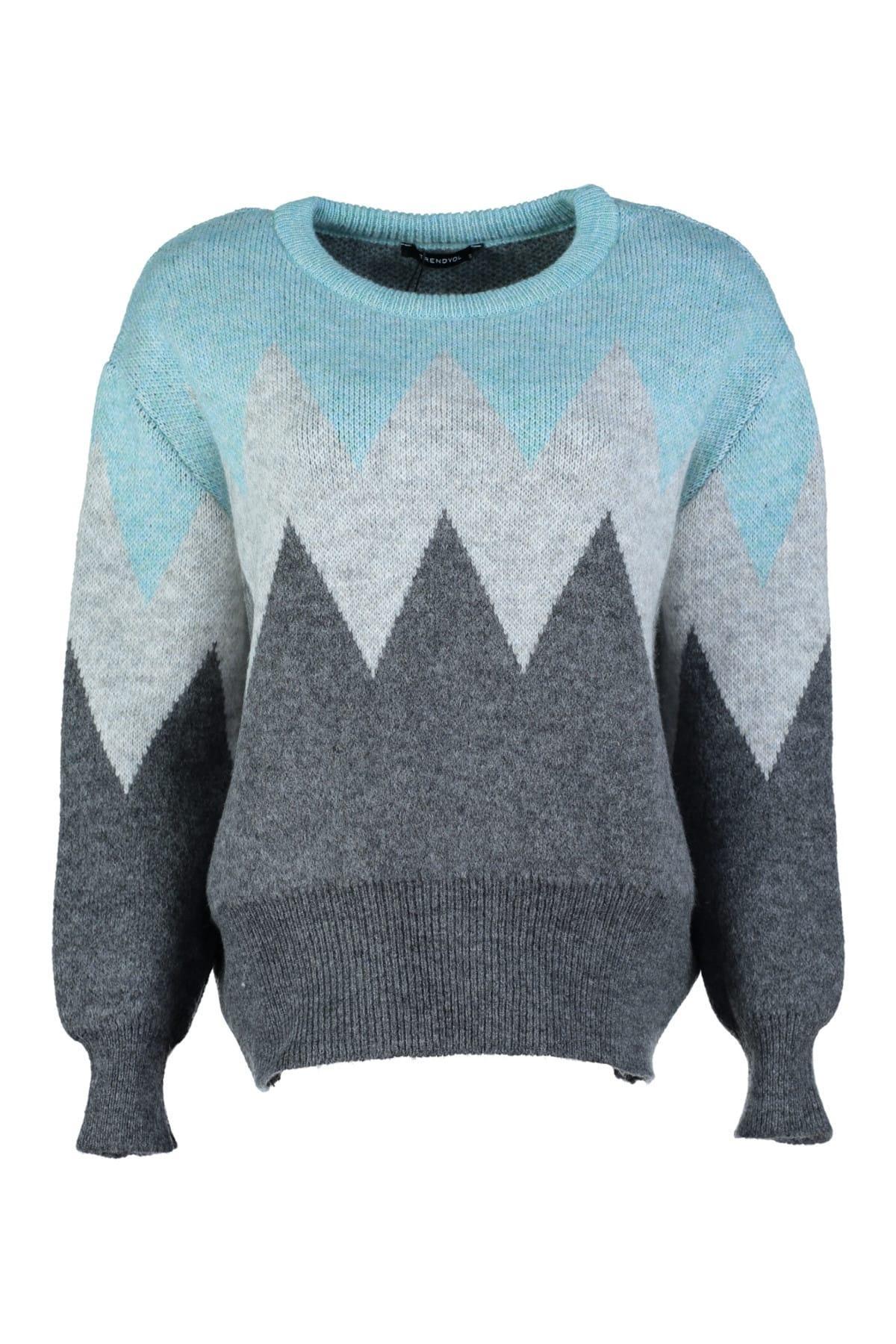 Trendyol WOMEN-Mint Colorblock Sweater Sweater TWOAW20FH0005