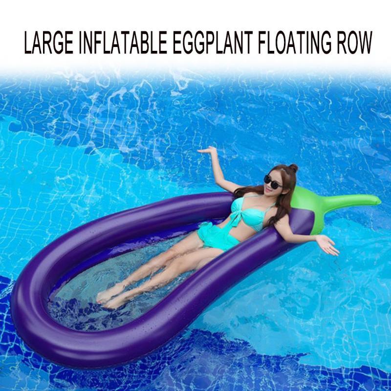 Inflatable Pool Float Circle Mattress Swimming Eggplant Swim Ring Seat Boat Raft Summer Water Fun Pool Toys