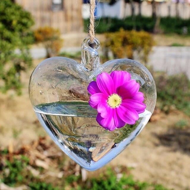 2017 nueva forma de corazón transparente vidrio colgante florero botella terrario contenedor planta flor mesa boda decoración jardín Envío Directo