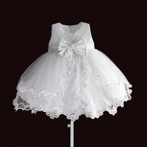 Image 5 - Marke Neue Baby Mädchen Kleider Rosa Weiß Perle Bogen Party Pageant Kleid Kleine Kinder Kinder Kleid für Party Hochzeit Größe 6 M 4 T