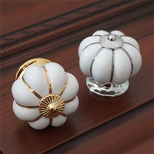 Gold Silver Pumpkin Ceramic Knobs Drawer Knob Pulls Handles Dresser Kitchen Cabinet Door Cupboard