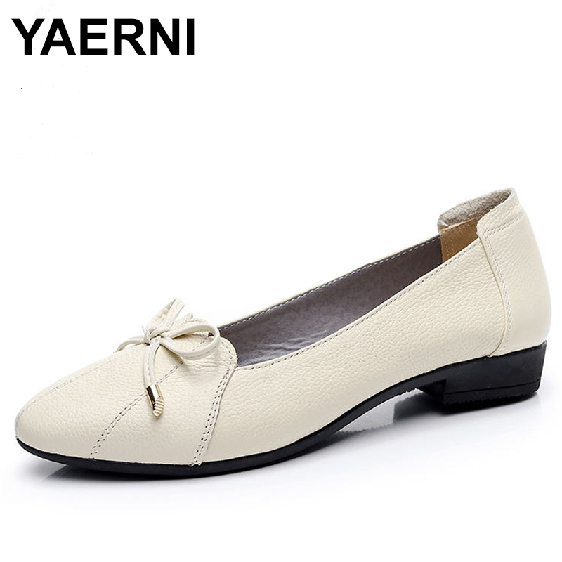 YAERNI Women Shoes 2018 Genuine Leather Women Flats Fashion Female Casual Work Ballet Flats Plus Size 35-43 Ladies Shoes E660 2018 new boat shoes sheepskin leather pregnant women shoes summer flat bowknots royal blue plus size 40 41 ballet flats female