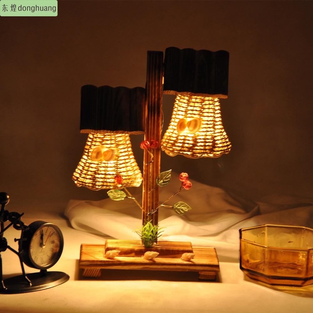 Pengiriman Gratis Kayu Lampu Ruang Tidur Makan Hias Buatan Meja Amber Tangan Hadiah Natal Kreatif Di Dari Pencahayaan