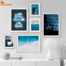 где купить Wall Art Canvas Painting Blue Sea Door Light Quotes Starry Sky Nordic Posters And Prints Wall Pictures For Living Room Decor по лучшей цене