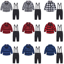 Baby Boys 3-Pieces Clothing Sets Cotton Long-Sleeved Plaid Shirt + Pants With Bow Tie Kids Sets Spring Autumn For 2-9 Years Old boys tracksuits sets spring autumn hip hop clothing kids sport suits long sleeved pullover harem pants suit 4 5 7 9 11 years