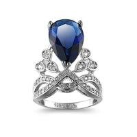 Rozmiar 6-10 Królowa Korony Kobiet Pierścień Zespół Złoty Wypełniony Wedding Bridal Ring Finger Inkrustowane Niebieski + + Cyrkonu luksusowe Akcesoria Kobiece