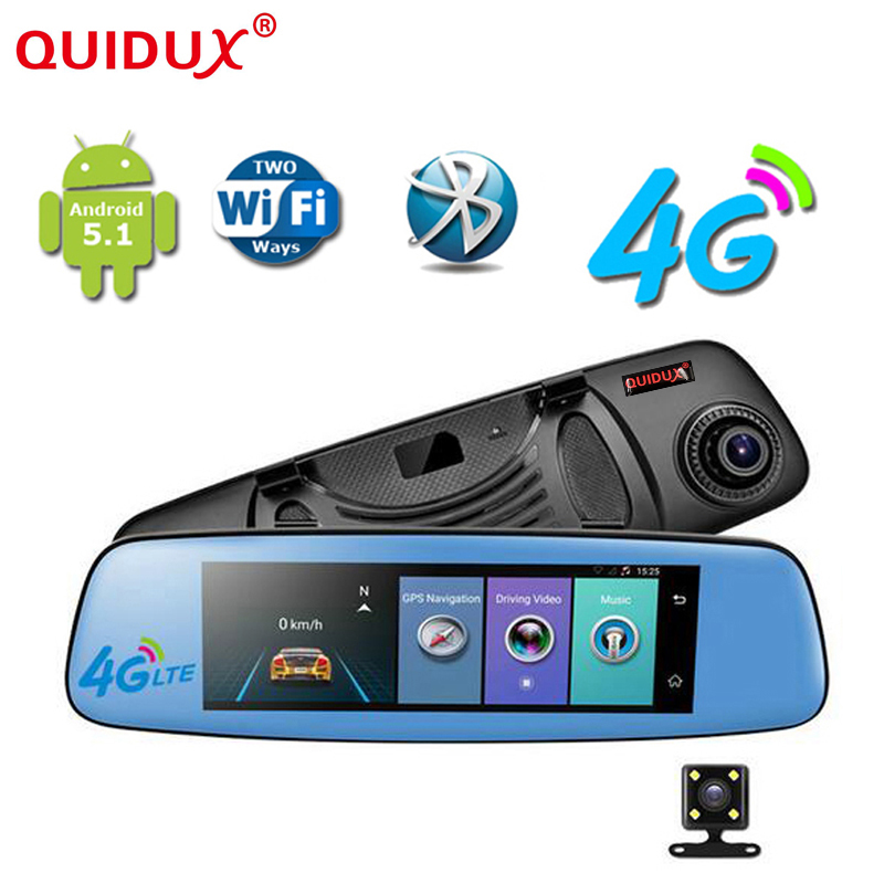 QUIDUX Android Car DVR 4G WCDMA 7.84 Touch Rearview Mirror DVRS Dual Lens GPS Navigation Wifi Dash Cam Video Recorder Dashcam