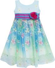 Sunny Fashion платья для девочек платье Онлайн Цветок Детализация Роза В полоску Принцесса Синий