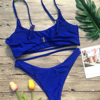 Beach Bikini Set solid Blue Swimsuit tankini Sexy Swimwear 2