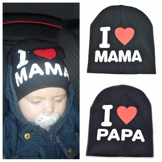 6c8f1e8ea09 Cute Baby Hat Knitted Warm Cotton Infant Toddler Beanie Letter Print I Love  MAMA PAPA Baby Boy Girl Cap Kids Hats