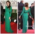 Comercio al por mayor Oscar Estrella Angelina Jolie Manga Casquillo Verde A-LINE Crystal Floral Gasa Celebrity Viste La Nueva Manera 2016