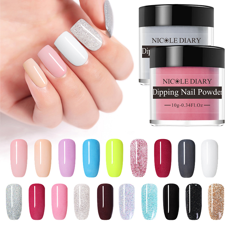 NICOLE DIARY 10g  Nail Color Dipping Glitter Gradient French Dip Nail Powder Natural Dry  Art Chrome Dust Pigment