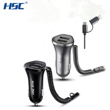 HSC HSC-104 2.4A Dual USB Spring Line 130cm Charger Fast Car Charger Smart Charger Adapter 12V-24V for Android for Iphone Hot