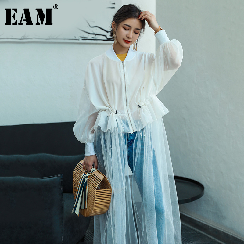 [EAM] 2020 New Spring Autumn Stand Collar Long Sleeve Hem Mesh Split Joint Loose Long Shirt Women Blouse Fashion Tide JU188