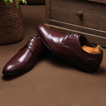 QYFCIOUFU 2019 New Arrival Brogue Shoes Men Genuine Leather Pointed Toe Lace-up Men Formal Dress Shoes Fashion Office Shoes