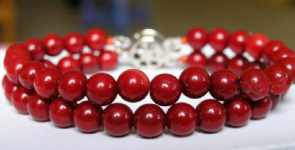 Natural 8mm Round Red Shell Pearl Gem stone Bracelets 2 Rows