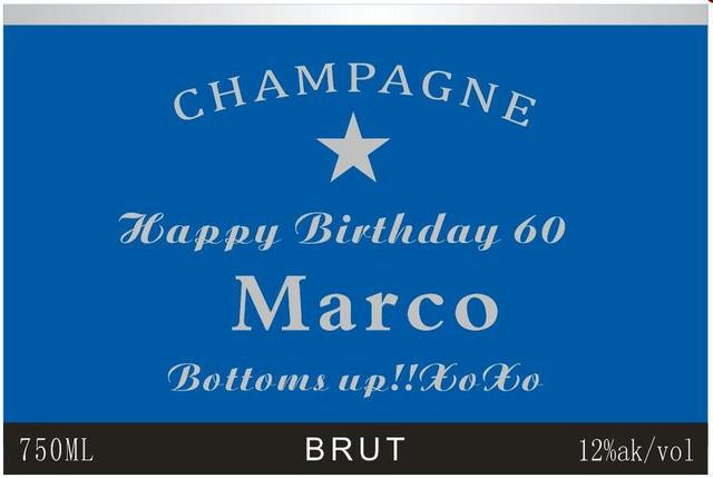 Personalised Wine Champagne Bottle Label Blue Grandfather Father Man Male Happy 60th Birthday Gift Present Ideas