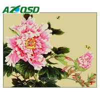 AZQSD Painting By Numbers Pink Flowers DIY Frameless 40x50cm Digital Oil Painting By Numbers On Canvas