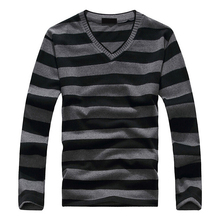 Fashion Men's Blue-Gray-White Stripe Long-sleeved Cotton Stripes Sweater Pullover 17-colors