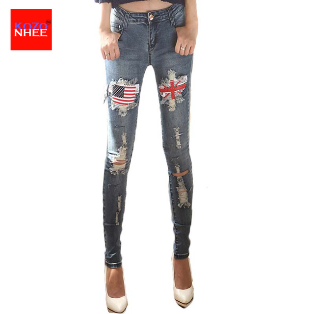 Flag Patch Hole Rippe Jeans Women With Torn Knees low waisted Jeans Female Narrow stretching jeans For Girls Pencil Pants