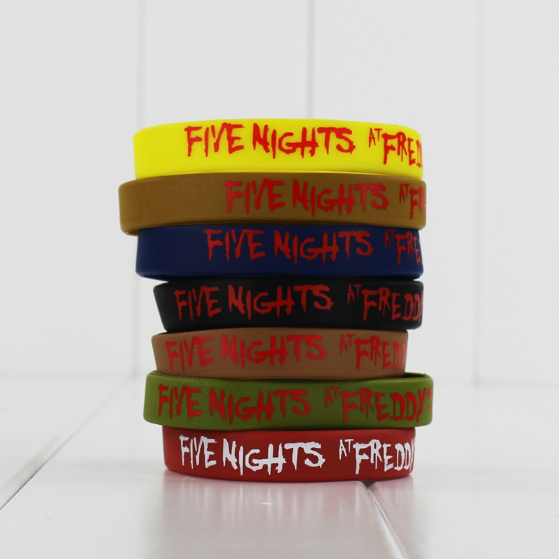 Great 7pcs/lot five nights at freddys FNAF silicone bracelet fashion wristband of five nights at freddy`s toy free shipping