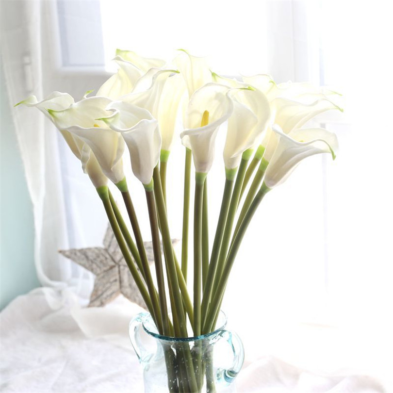 5PCS/Lot Wedding Decoration Elegant Calla PU Real Touch Artificial Flowers  Decorative Flowers Bouquet Artificial