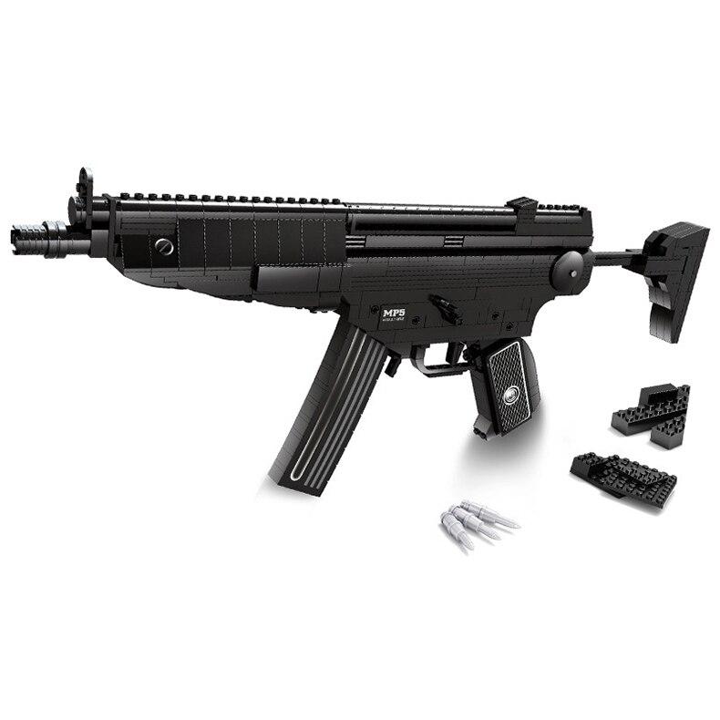 597 PCS DIY Nerfs Elite Gun MP5 Submachine Gun Machine Carbine Toy Gun Model Building Block Set Plastic Toy Gift For Children