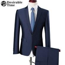 Mens Slim Fit Blue Suits with Pants Wedding Groom S-3XL Brand Men Coffee Party Business Tuxedo Suit DT030