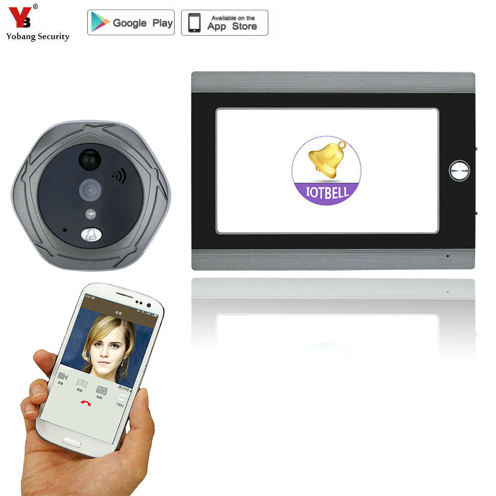720P WiFi Wireless Digital Peephole Door Viewer 7 Front Door Peephole Camera Wifi Doorbell with Intercom or take video image