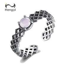 hot deal buy hengyi genuine 925 sterling silver geometric round resizable ring vintage silver 925 jewelry