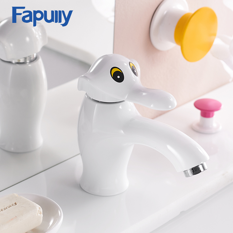Fapully Cute Kids Bathroom Faucet Single Handle Deck Mounted Faucets Hot and Cold Lovely Elephant Basin Mixer Tap 918-11 micoe hot and cold water basin faucet mixer single handle single hole modern style chrome tap square multi function m hc203