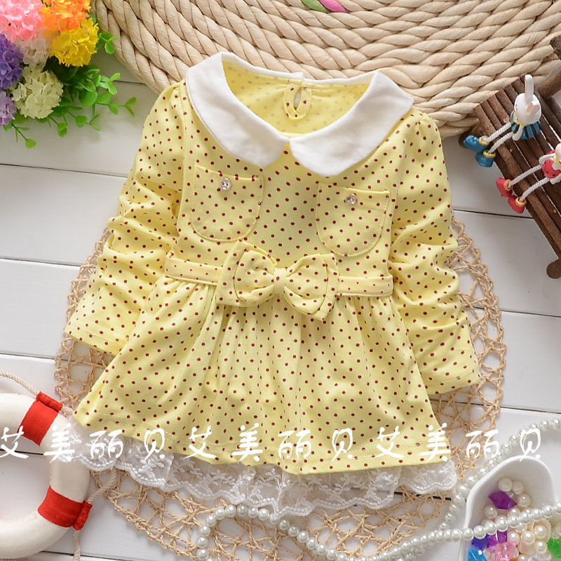 2016 Spring and Autumn baby girls doll collar dot bow waistband shirt child long sleeve tops tees clothing free shipping
