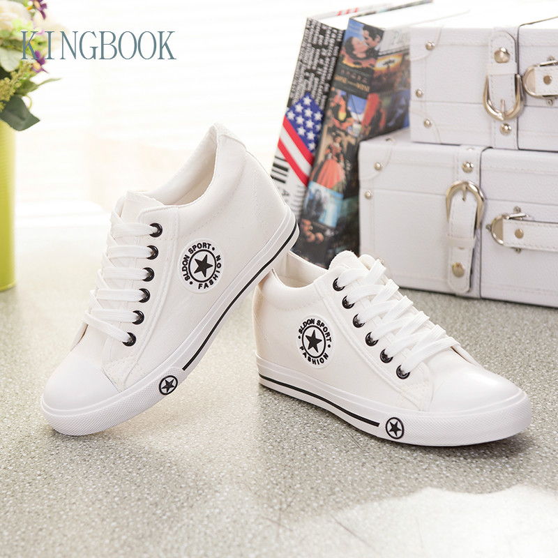 2102947dbb5b KINGBOOK Designer Summer Women Sneakers White Wedges Canvas Shoes star Lace  Up Casual Shoes Female Trainers Basket Femme