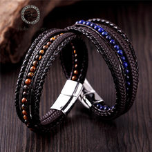 Fashion Braided Multi-layer Genuine leather Bracelets Men Stone Beads Rope Stainless Steel Charm bracelet Women Couple Wristband(China)