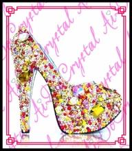Aidocrystal Summer women custom crystal high heeled Ladies sexy rhinestone Diamond wedding shoes high heels platform pumps