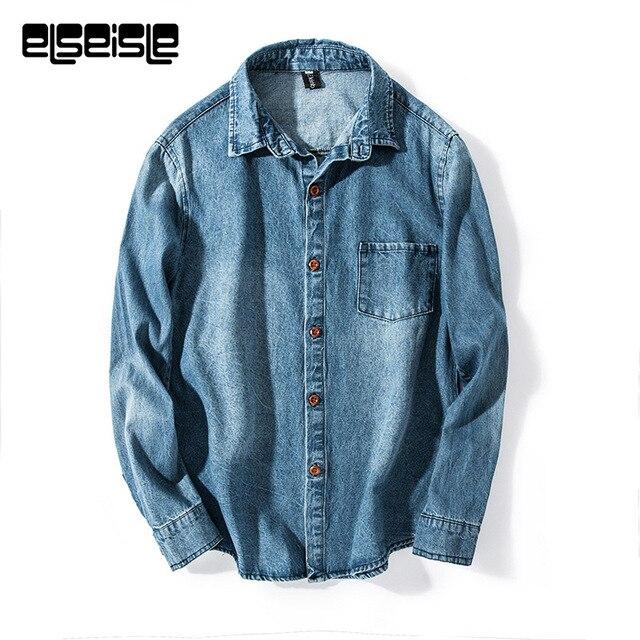 Синий Винтаж джинсовые рубашки мужские джинсовые рубашки платье рубашка с рукавами бренд elseisle мужские рубашки мужской моды случайные boss Мужчины