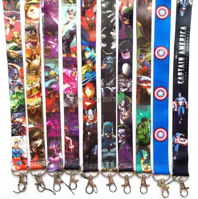High Quality One Cartoon The Avengers Key Lanyard Cheetah ID Badge Holders Animal Stripe Phone Neck Straps #439