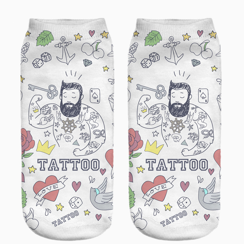 Hot Sale Funny Tattoo Full Printing Women Low Cut Ankle   Sock   Meias Cotton Hosiery Casual Slippers Calcetines   Socks