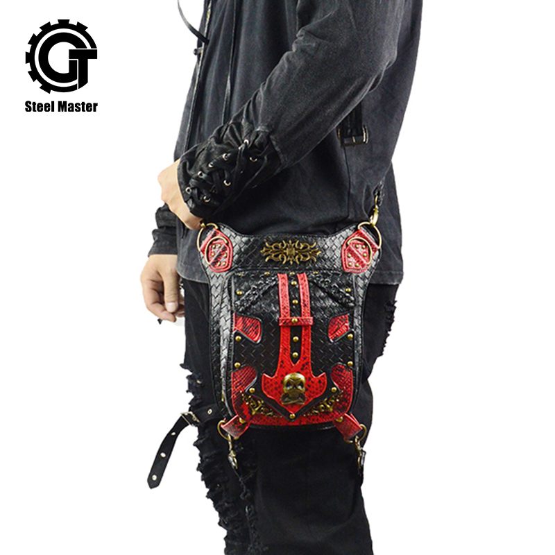 Punk Skull Waist Bags Men Vintage Motorcycle Leg Bag Red Black Leather Rivets Messenger Bag Vintage