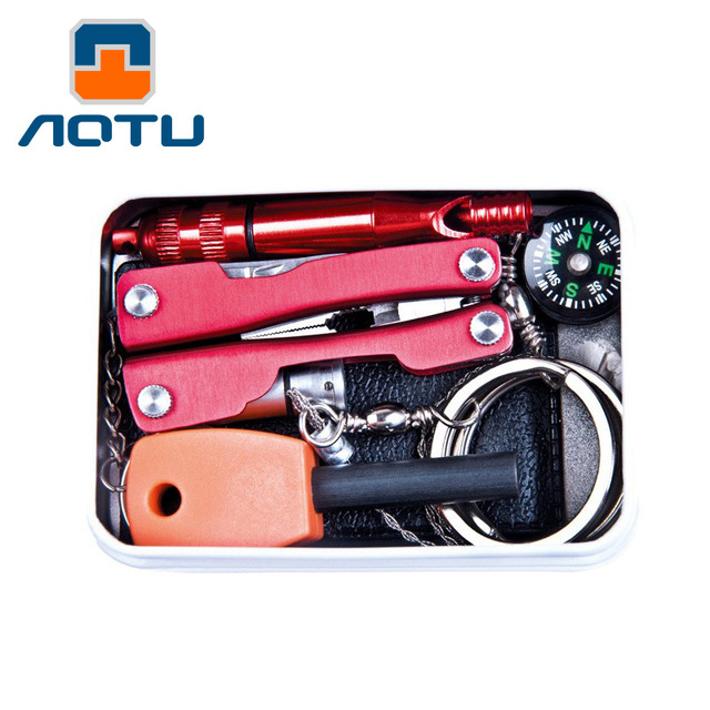 Outdoor Knife Pliers Flintstone Led Light Saw Compass Sets Emergency Package Self-Help Combination Equipment Sos Survival Tools