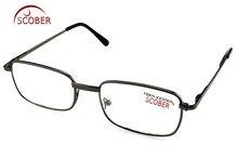 ¡= SCOBER-gafas de lectura de cristal Natural =! ¡Dos pares! Gafas de montura de aleación para hombre y mujer, de alta calidad, llanta completa, 1 + 1,5 a + 4